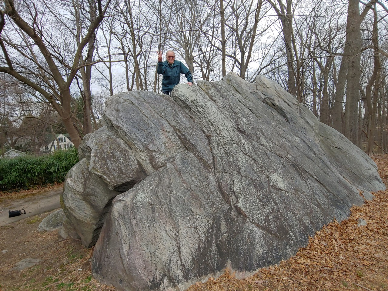 "Carl LaVO atop ""Big Rock""."